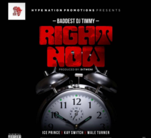 "Baddest DJ Timmy collaborates with Ice Prince,Kay Switch, Wale Turner on a new single entitled ""Right Now"". This new tune gives the featured artistes to drop enough bars especially Wale Turner and Ice Prince, nevertheless, Kaysiwtch wasn't carried away as he gives it to us back to back on this tun. Repeated Jamming of this tune might hack your playlist."
